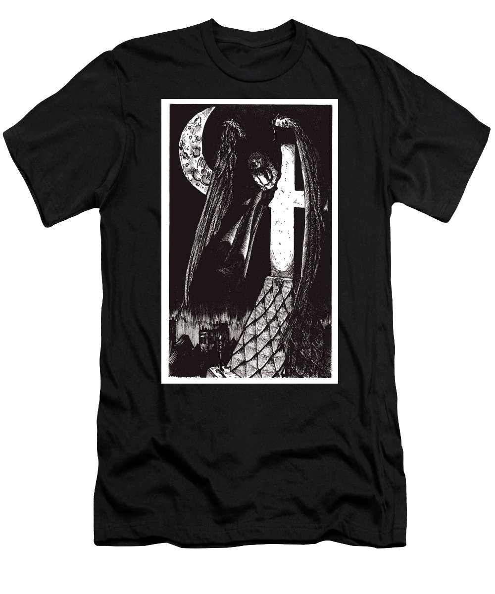 Angel Men's T-Shirt (Athletic Fit) featuring the drawing Solemn Vigil by Tobey Anderson