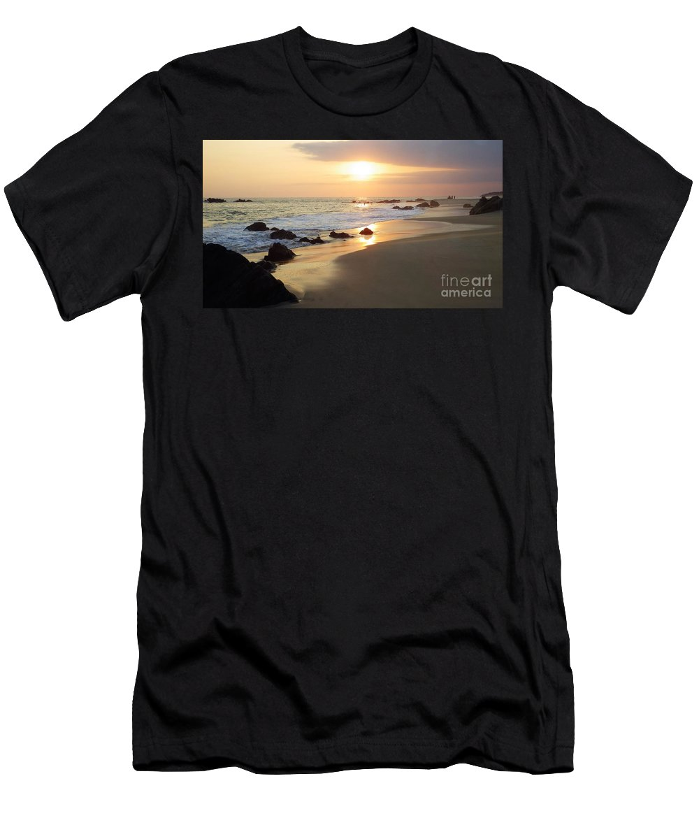 Sunset Men's T-Shirt (Athletic Fit) featuring the photograph Liquid Gold by Victor K