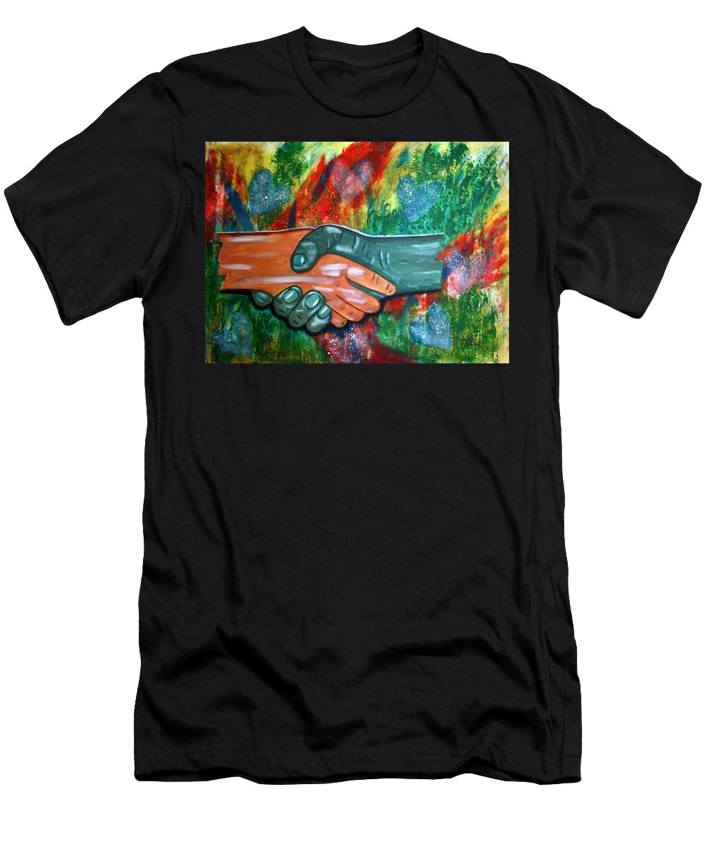 Vifer Men's T-Shirt (Athletic Fit) featuring the painting Solidariedade by Vitor Fernandes VIFER