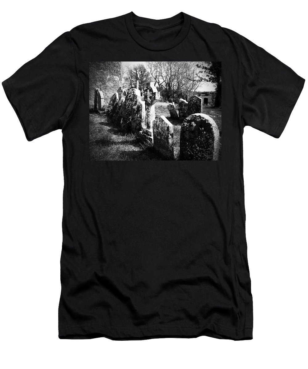 Ireland Men's T-Shirt (Athletic Fit) featuring the photograph Solitary Cross At Fuerty Cemetery Roscommon Irenand by Teresa Mucha