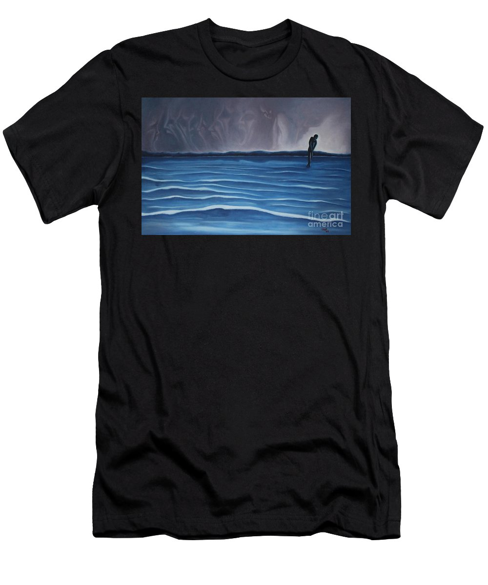 Tmad Men's T-Shirt (Athletic Fit) featuring the painting Solitude by Michael TMAD Finney