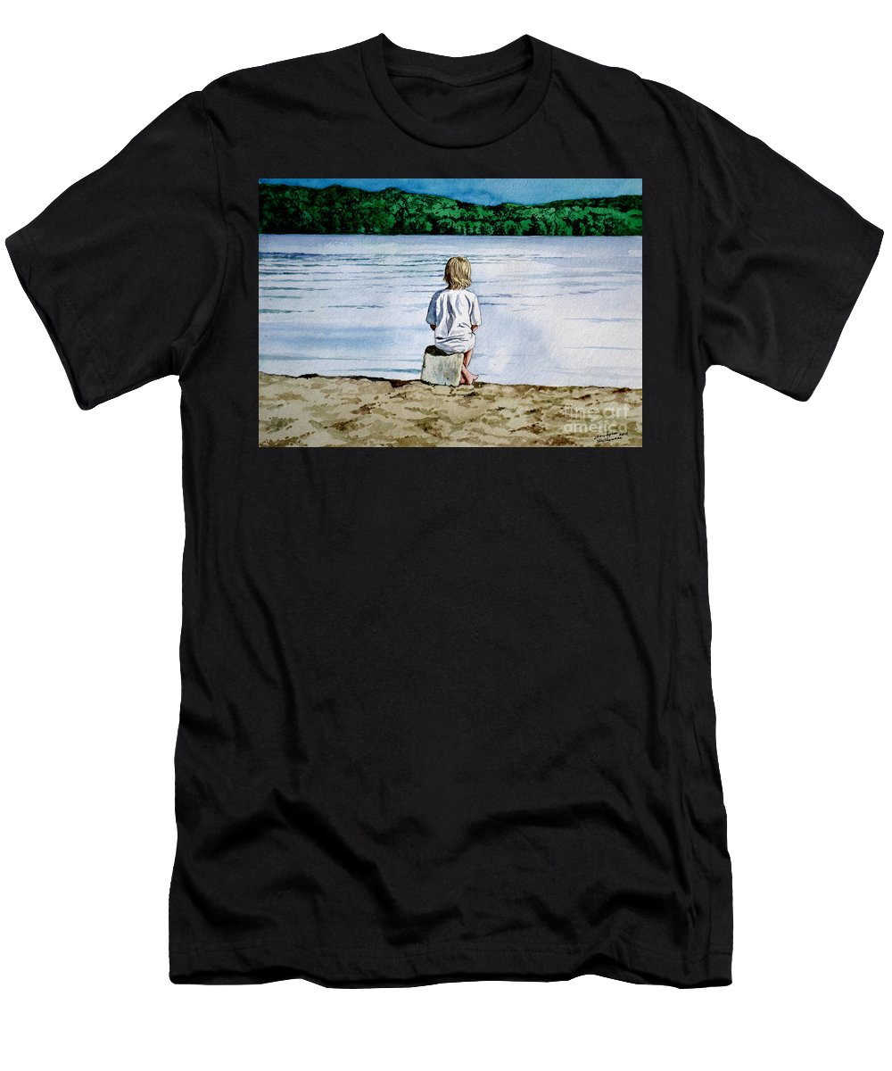 Child Men's T-Shirt (Athletic Fit) featuring the painting Solitude Upon The Lake by Christopher Shellhammer