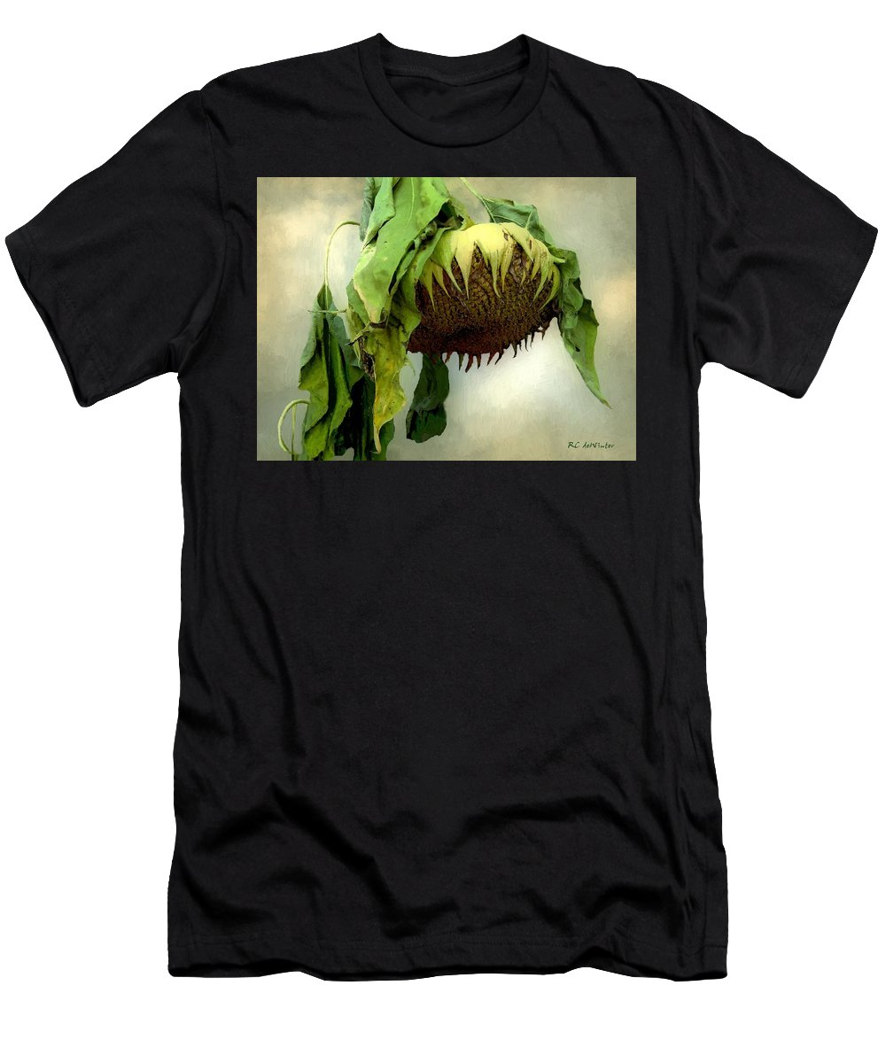 Sunflower Men's T-Shirt (Athletic Fit) featuring the painting Sombre November by RC DeWinter