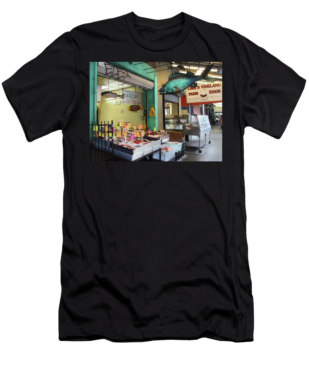 Fish Men's T-Shirt (Athletic Fit) featuring the photograph Something's Fishy by Lori Deiter