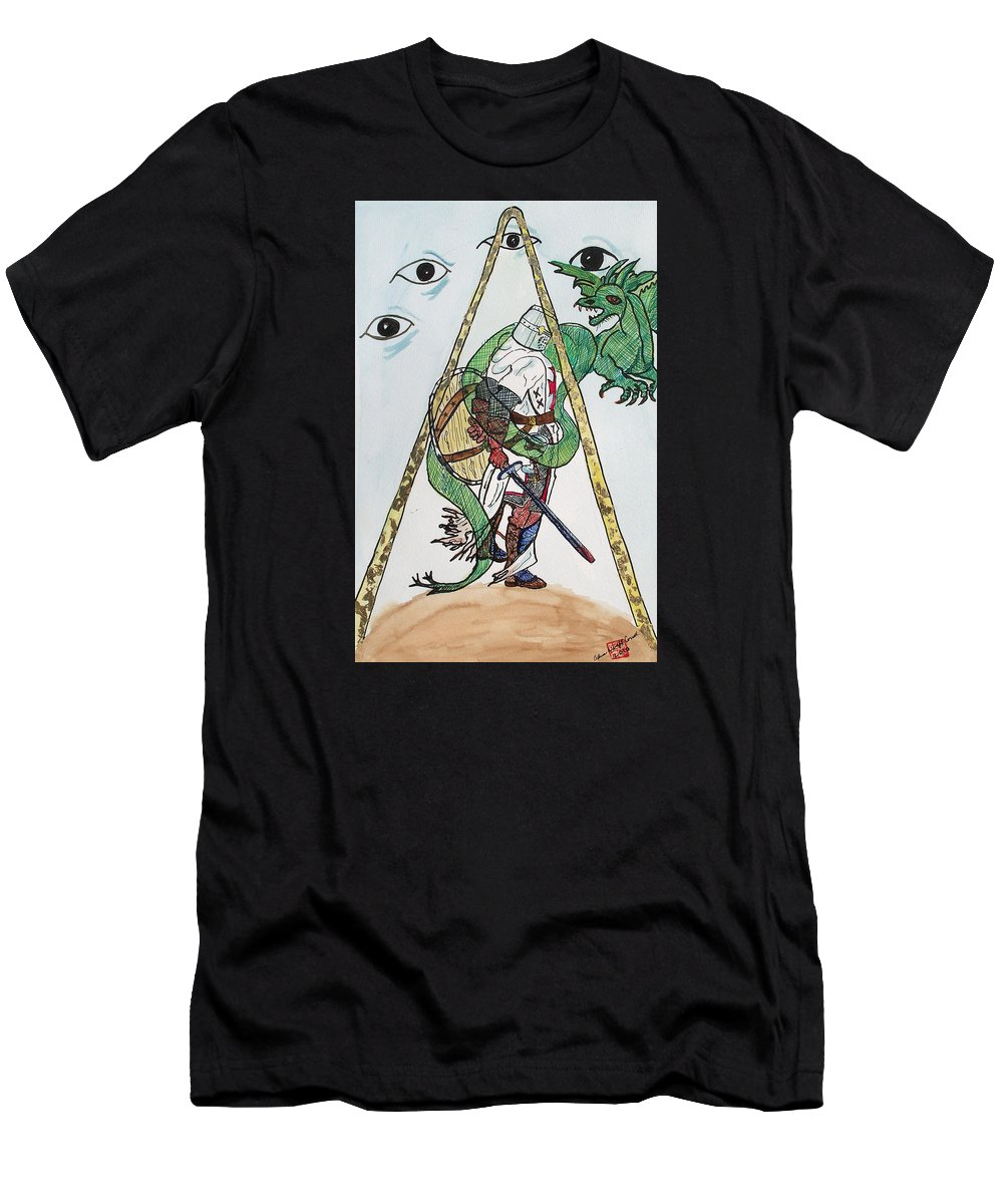 Knights Men's T-Shirt (Athletic Fit) featuring the painting Sometimes The Dragon Wins by Arlene Wright-Correll