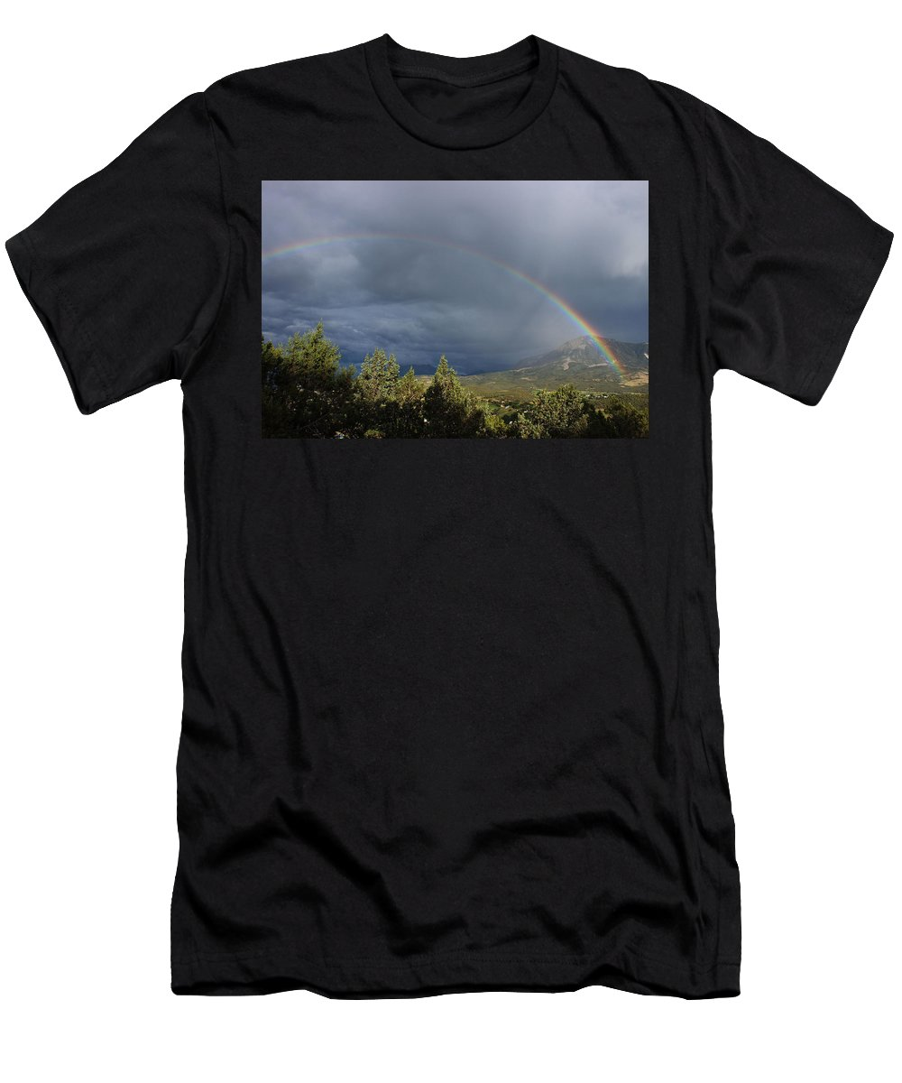 Rainbow Men's T-Shirt (Athletic Fit) featuring the photograph Somewhere Over The Rainbow by Samantha Burrow