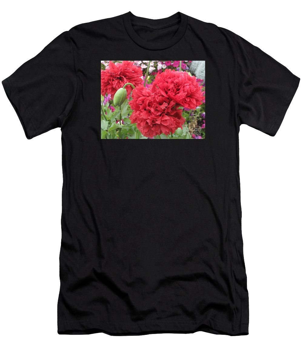 Somniferum Papaver Men's T-Shirt (Athletic Fit) featuring the photograph Somniferum Poppy 1 by Marta Robin Gaughen