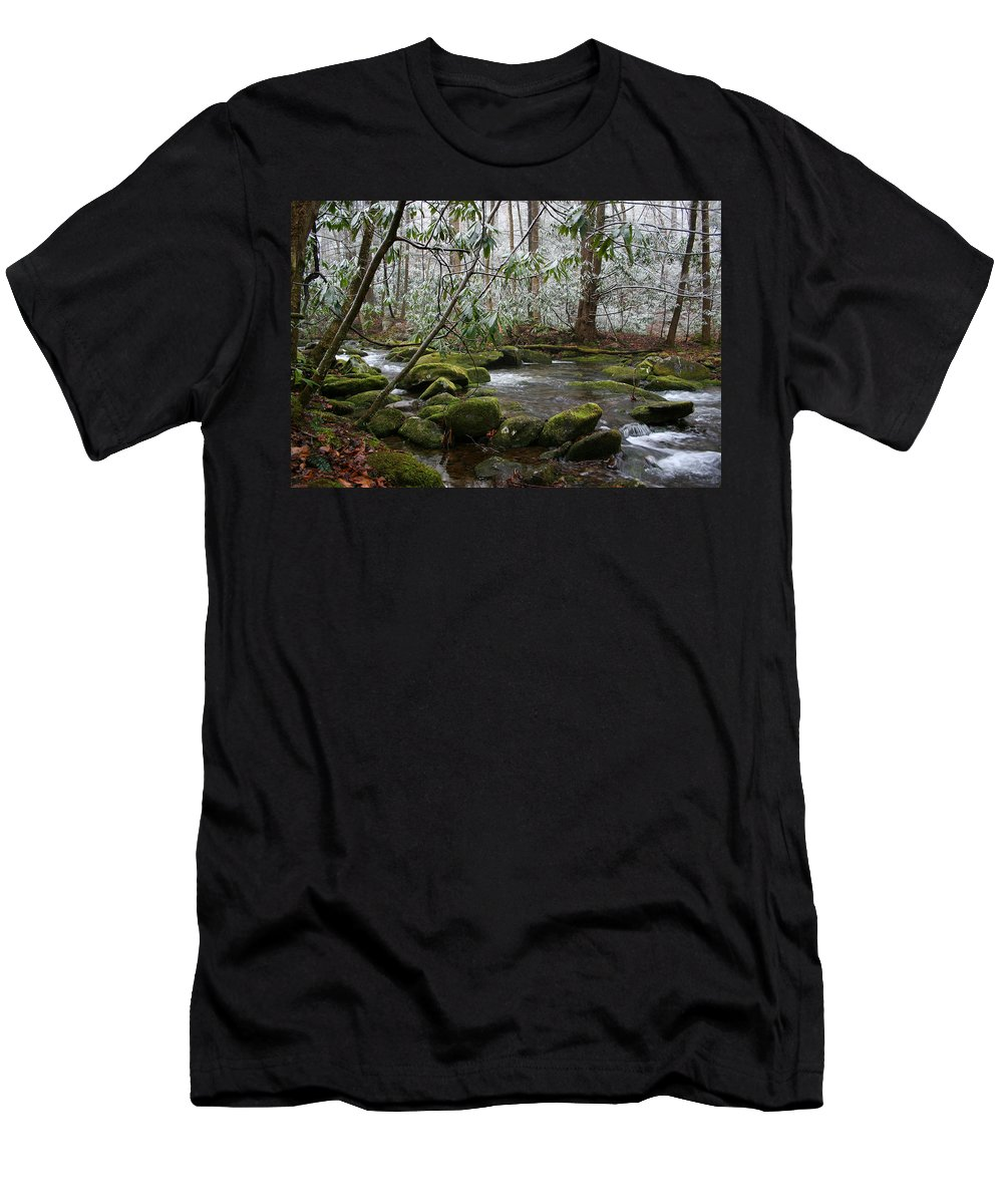 River Stream Creek Water Nature Rock Rocks Tree Trees Winter Snow Peaceful White Green Flowing Flow Men's T-Shirt (Athletic Fit) featuring the photograph Soothing by Andrei Shliakhau