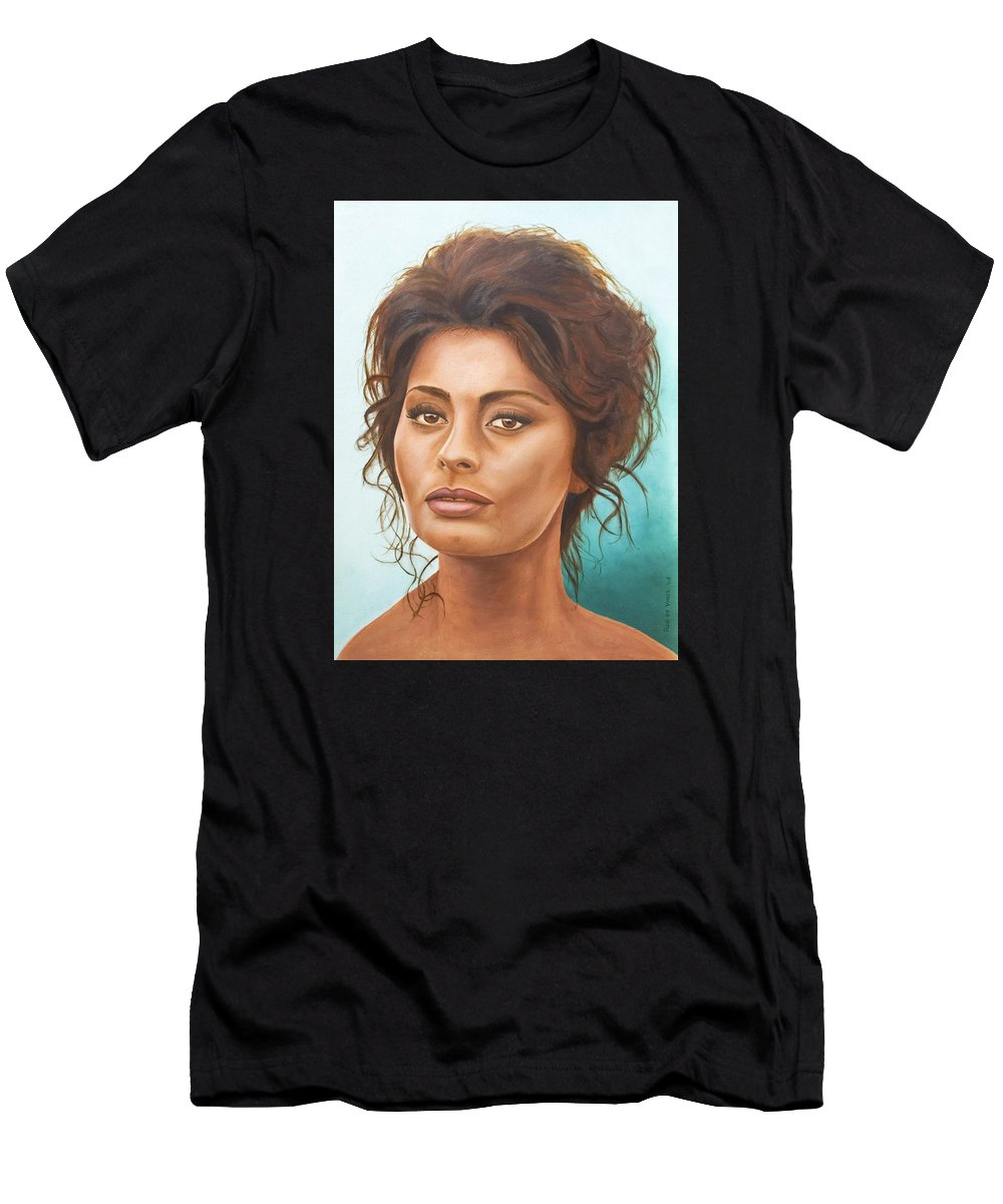 Moviestar Men's T-Shirt (Athletic Fit) featuring the painting Sophia Loren by Rob De Vries