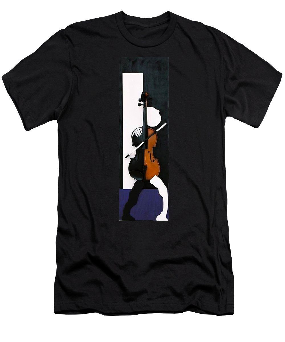 Violin Men's T-Shirt (Athletic Fit) featuring the sculpture Soul Of Music by Steve Karol