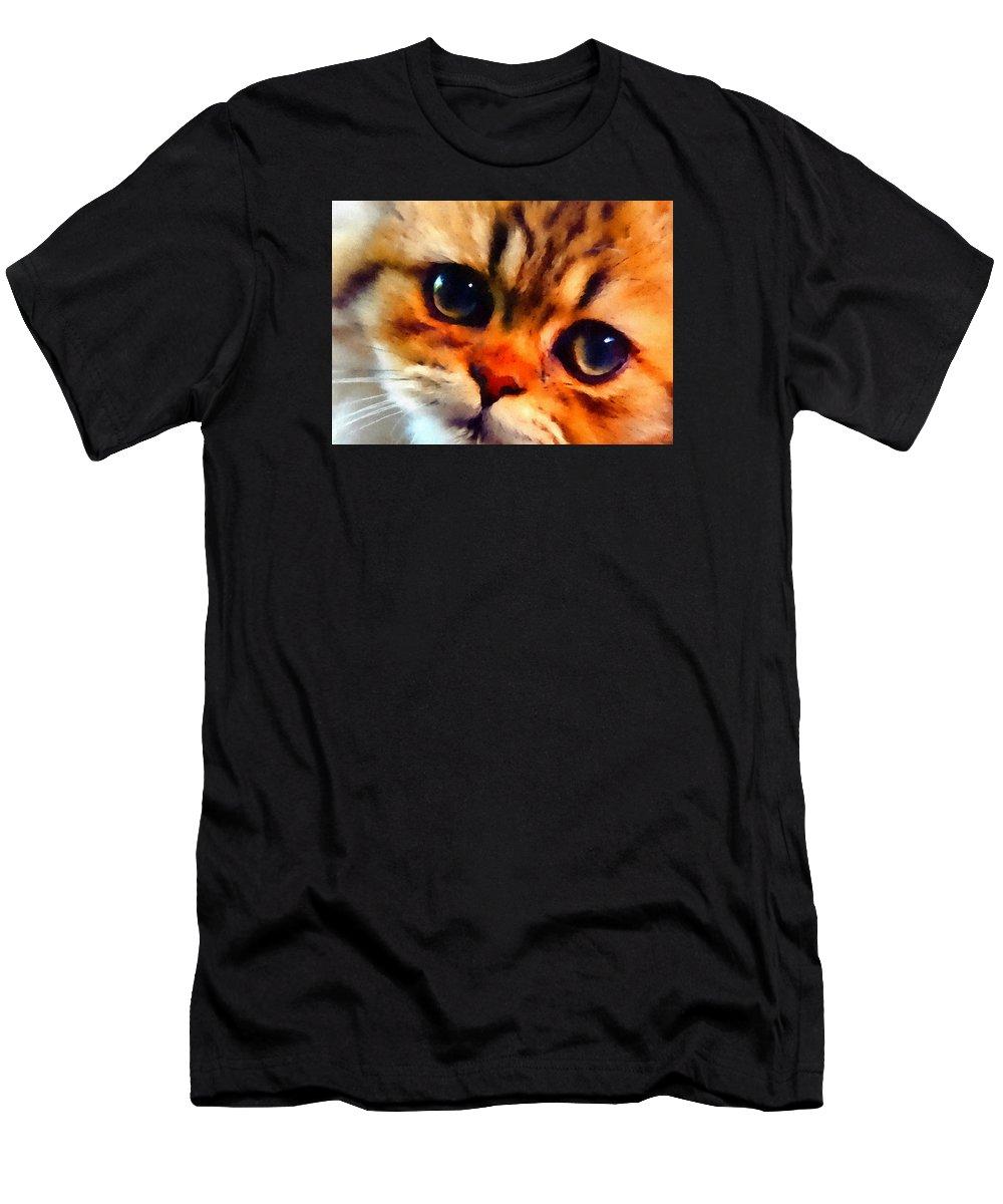 Kitten Men's T-Shirt (Athletic Fit) featuring the painting Soulfull Eyes Kitten Portrait by Linda Koelbel