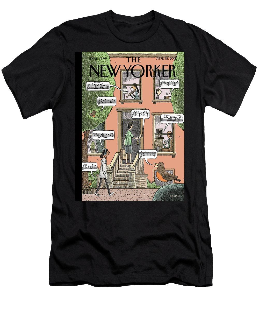 Soundtrack To Spring Men's T-Shirt (Athletic Fit) featuring the drawing Soundtrack To Spring by Tom Gauld