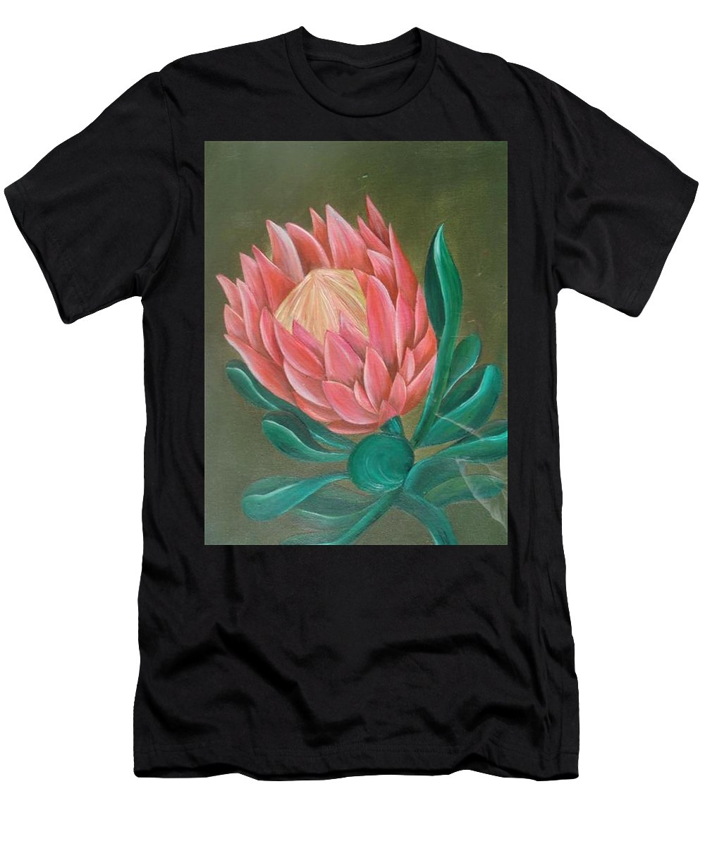 Flower Men's T-Shirt (Athletic Fit) featuring the painting South Africa Protea by Perola Oliveira