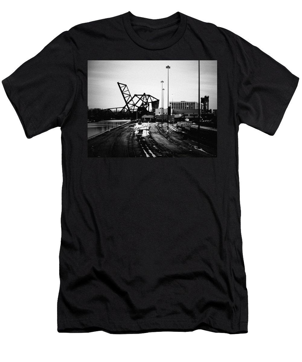 Downtown Men's T-Shirt (Athletic Fit) featuring the photograph South Loop Railroad Bridge by Kyle Hanson