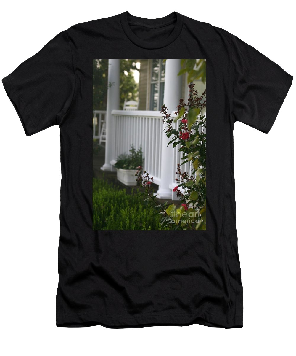Summer Men's T-Shirt (Athletic Fit) featuring the photograph Southern Summer Flowers And Porch by Nadine Rippelmeyer