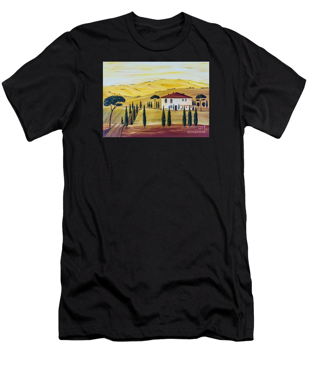 Sunrise Men's T-Shirt (Athletic Fit) featuring the painting Southern Tuscany by Christine Huwer