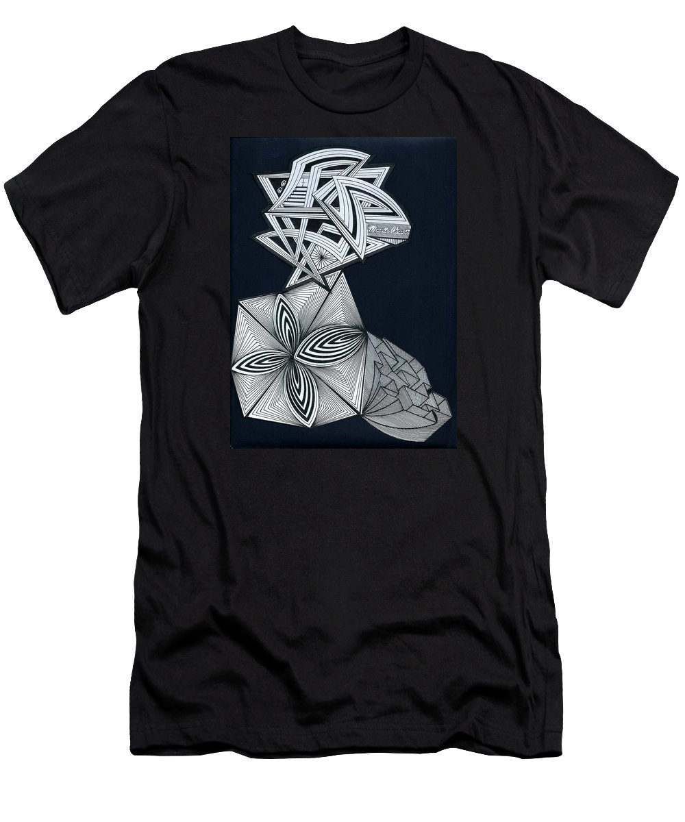 Maze Men's T-Shirt (Athletic Fit) featuring the drawing Space Maze by Dennis Caruso