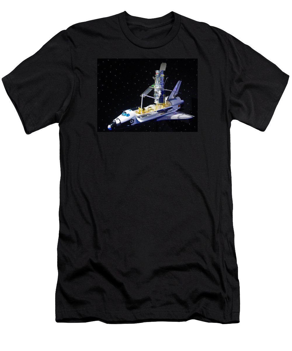Pat Turner Men's T-Shirt (Athletic Fit) featuring the photograph Space Shuttle With Hubble Telescope by Pat Turner