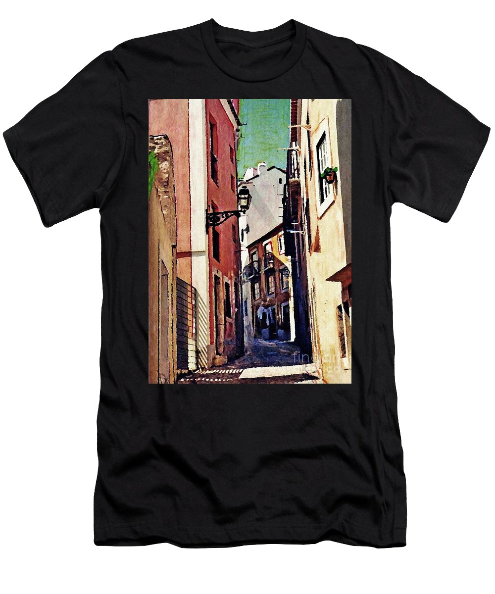 Street Men's T-Shirt (Athletic Fit) featuring the photograph Spanish Town by Sarah Loft