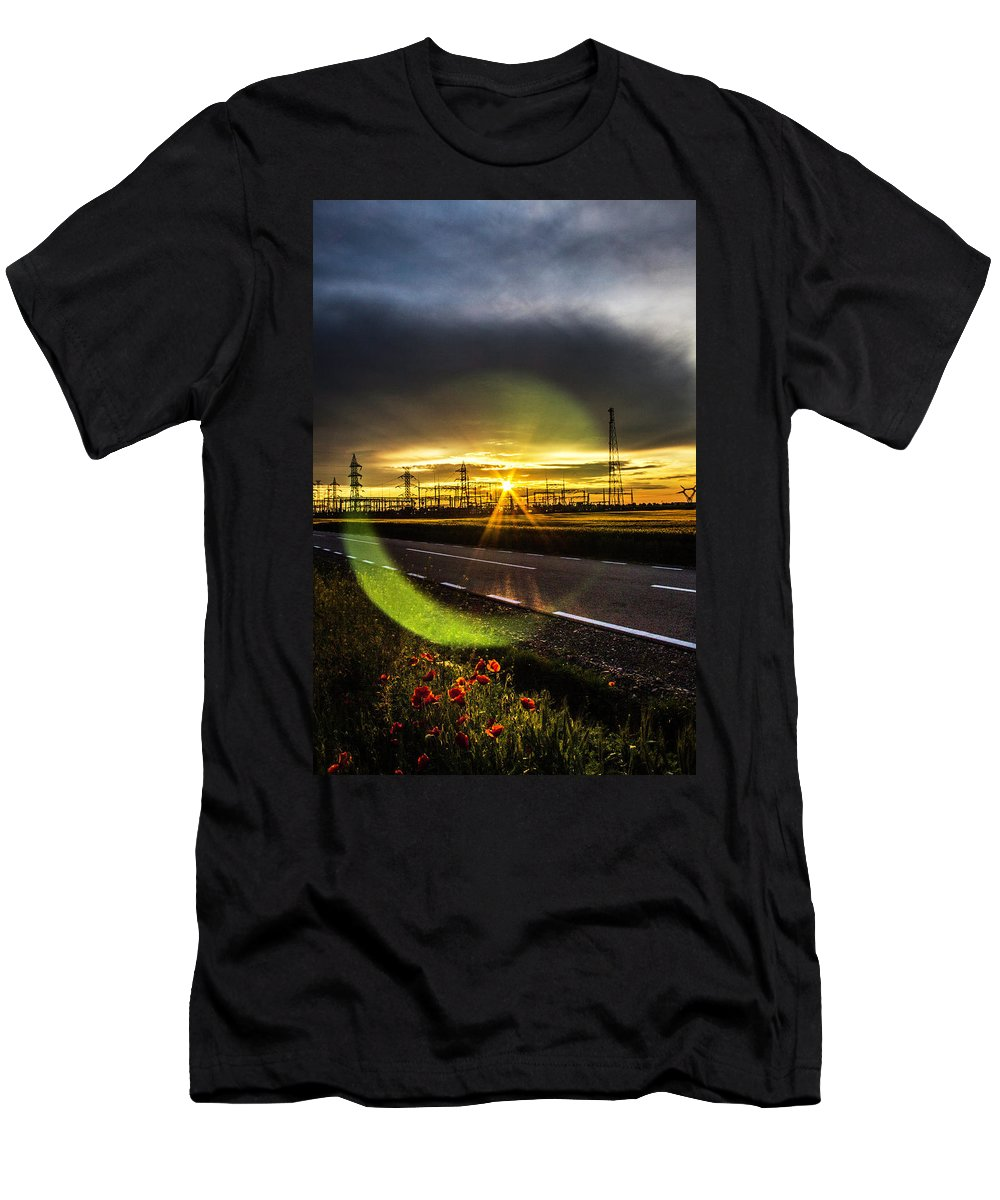 Sun Men's T-Shirt (Athletic Fit) featuring the photograph Sparkling Sun by Andrei Marius