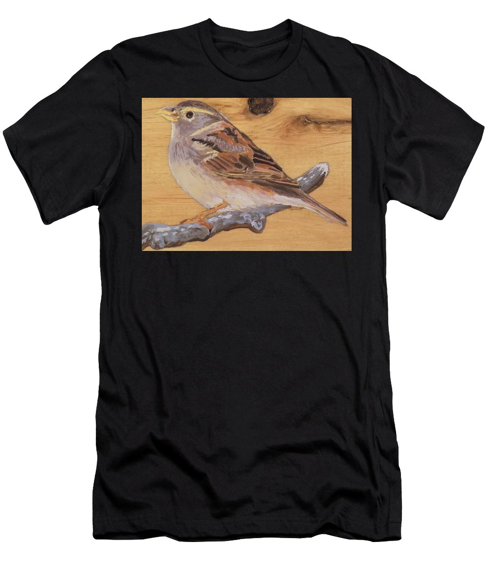 Bird Men's T-Shirt (Athletic Fit) featuring the painting Sparrow 2 by Paul Bashore