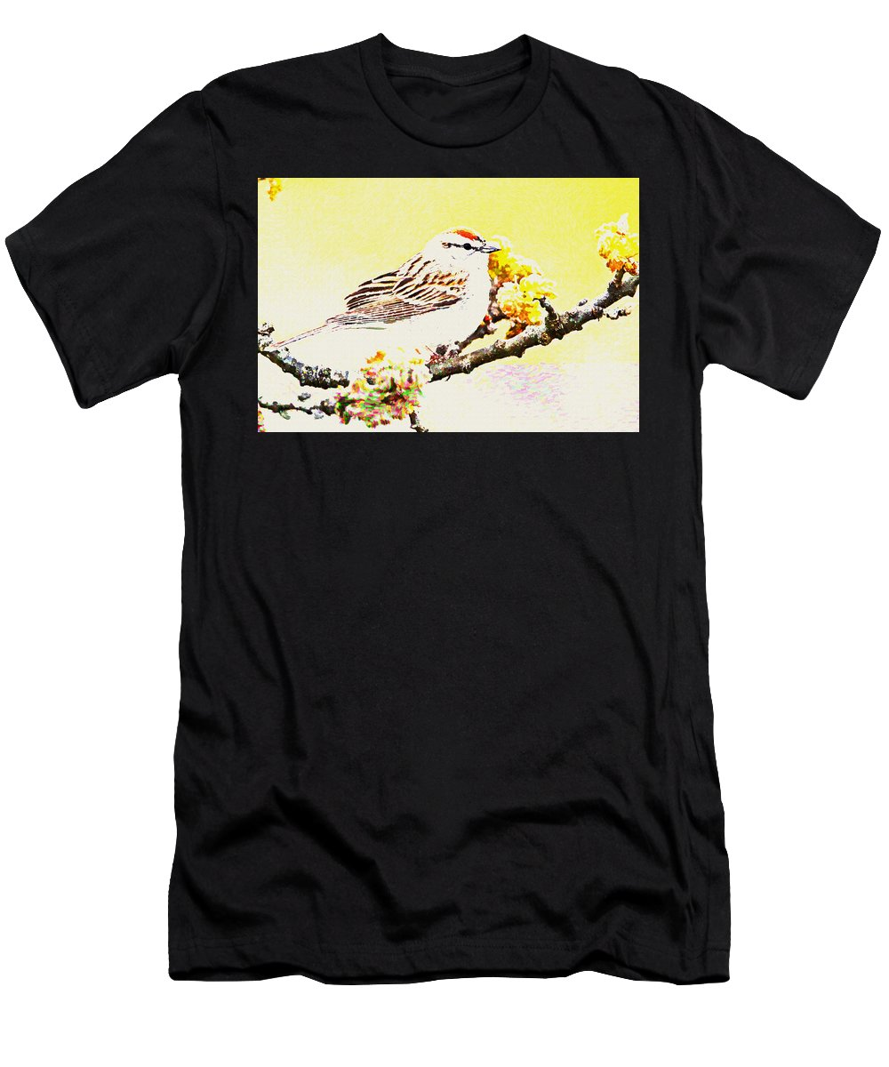 Sparrow Men's T-Shirt (Athletic Fit) featuring the digital art Sparrow by Lora Battle