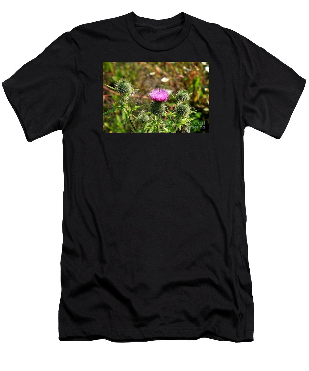 Spear Thistle Men's T-Shirt (Athletic Fit) featuring the photograph Spear Thistle by Esko Lindell