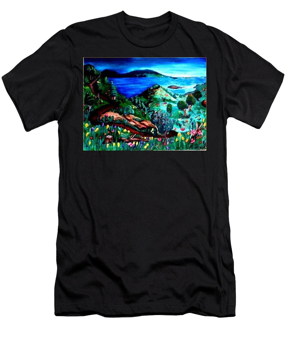 Landscape Men's T-Shirt (Athletic Fit) featuring the painting Special Land by Andrew Johnson