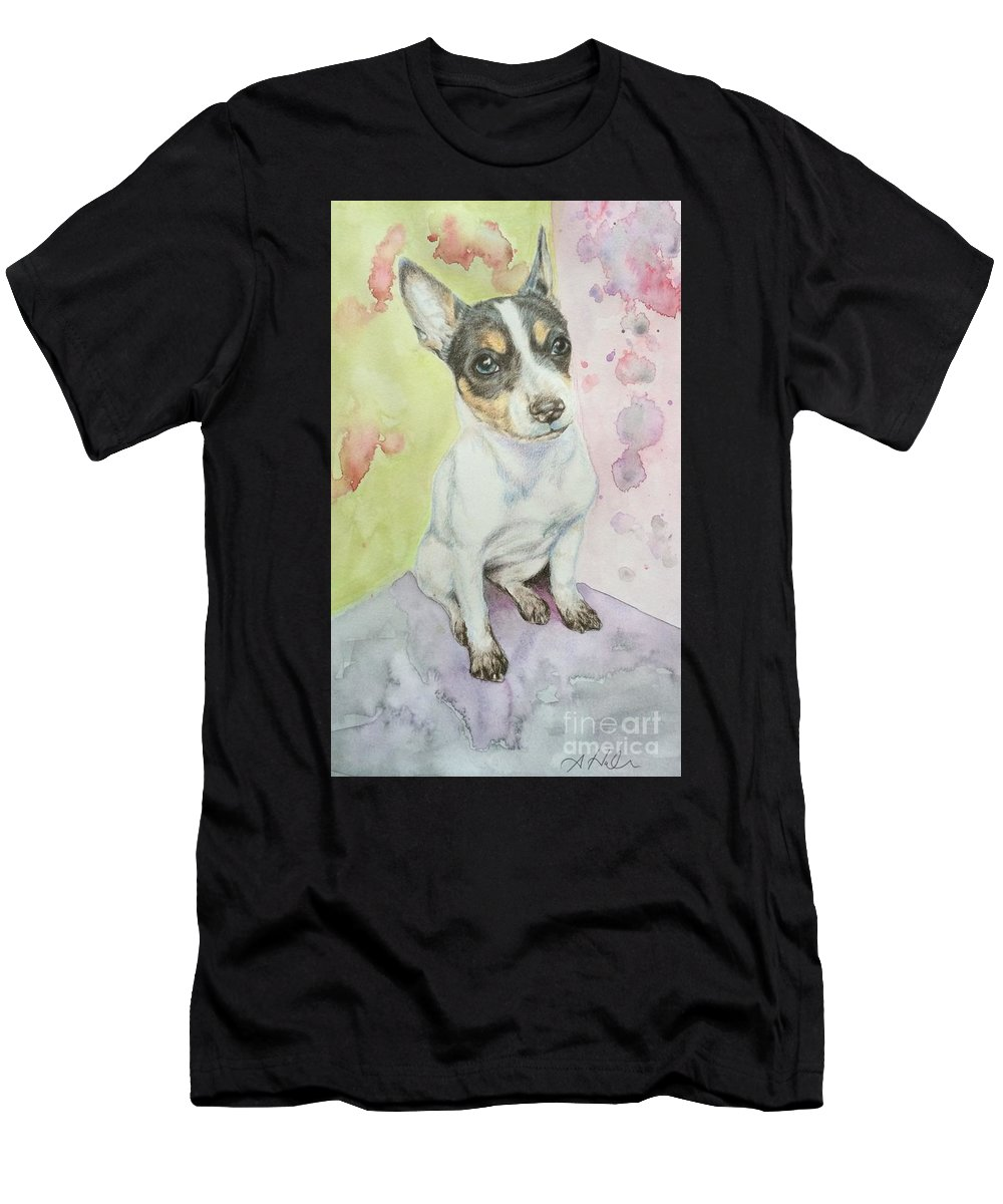 Dog Men's T-Shirt (Athletic Fit) featuring the painting Speckled Nose Muddy Toes by Amanda Hall