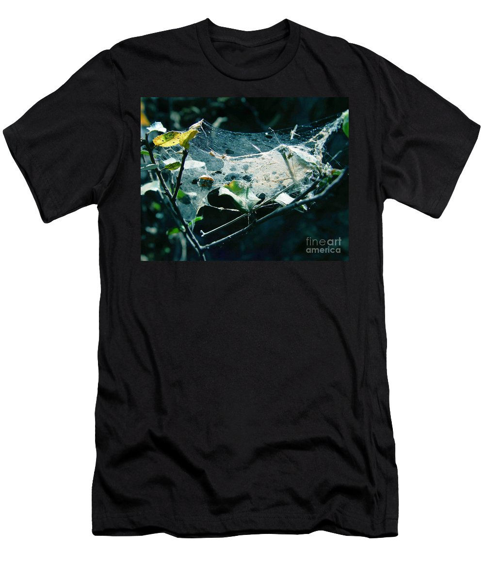 Spider Men's T-Shirt (Athletic Fit) featuring the photograph Spider Web by Peter Piatt