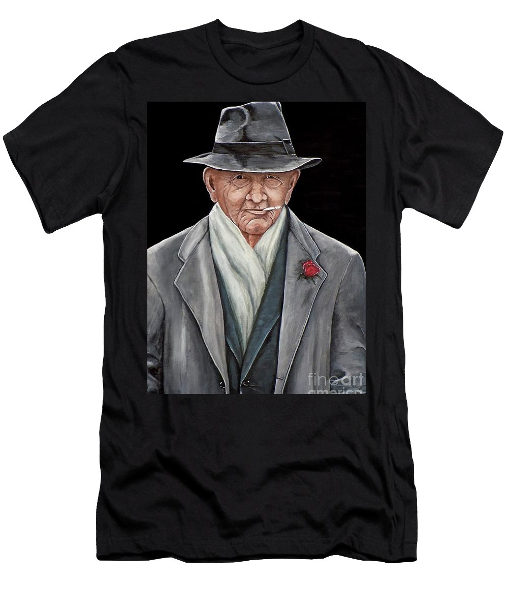 Spiffy Men's T-Shirt (Athletic Fit) featuring the painting Spiffy Old Man by Judy Kirouac