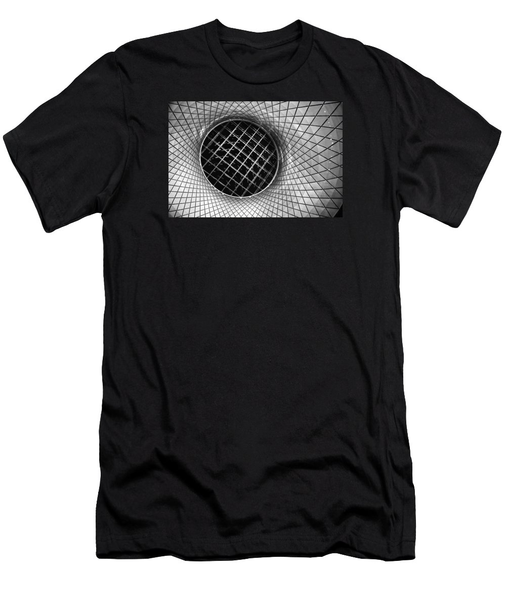 The Skylight Ceiling At The Fulton St. Subway In Nyc Men's T-Shirt (Athletic Fit) featuring the photograph Spiral by John Rizzitelli