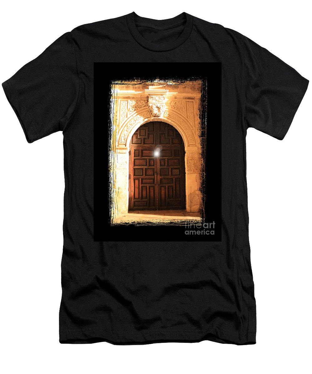 Radiant Light Men's T-Shirt (Athletic Fit) featuring the photograph Spirit Of The Alamo With Framing by Carol Groenen