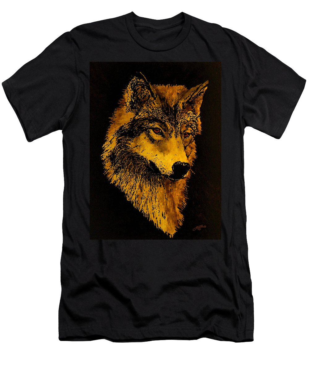 Wolf Men's T-Shirt (Athletic Fit) featuring the painting Spirit Wolf by John Guthrie