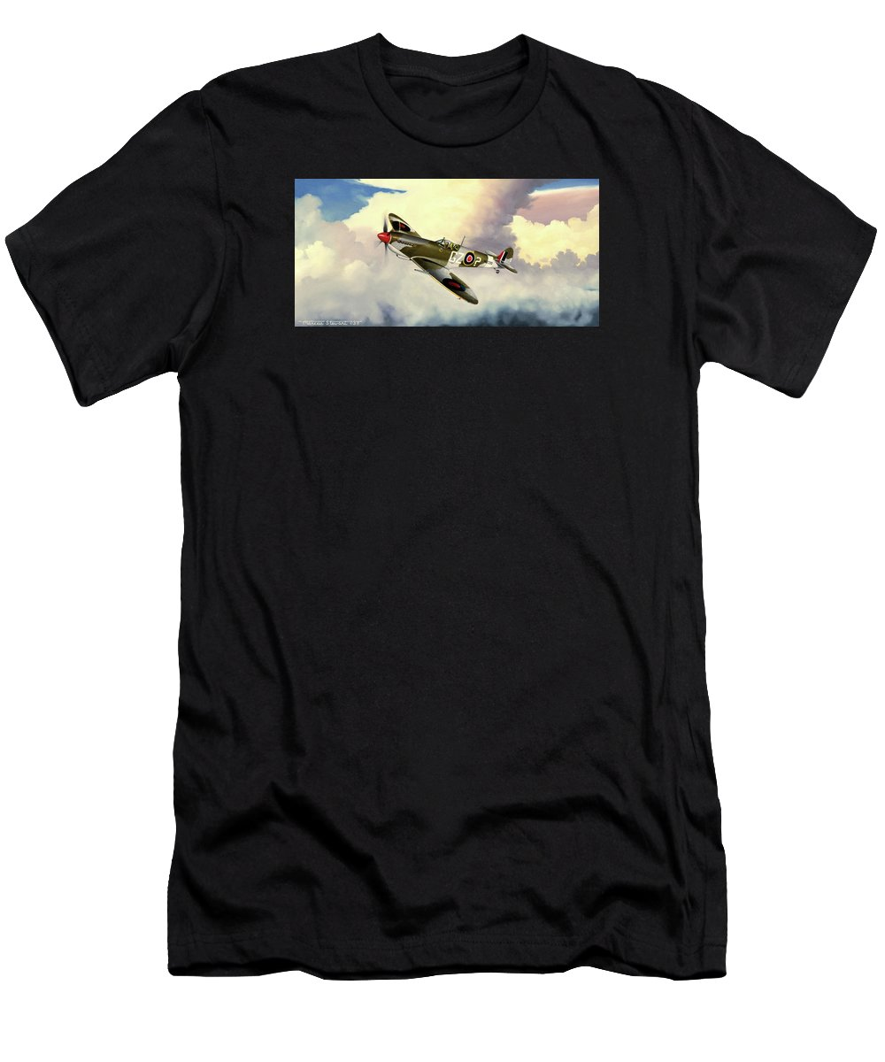 Military Men's T-Shirt (Athletic Fit) featuring the painting Spitfire by Marc Stewart
