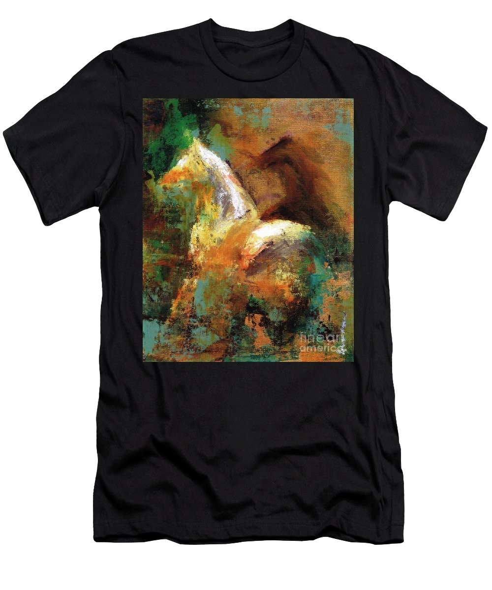 Abstract Horse Men's T-Shirt (Athletic Fit) featuring the painting Splash Of White by Frances Marino