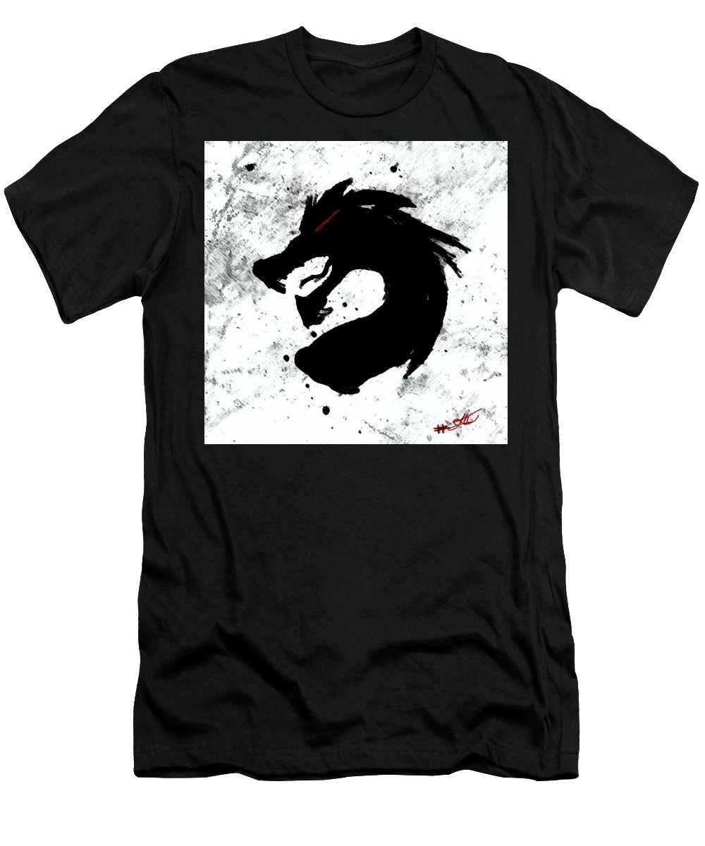 Dragon Men's T-Shirt (Athletic Fit) featuring the painting Splat O Dragon by Jeffrey Wilson