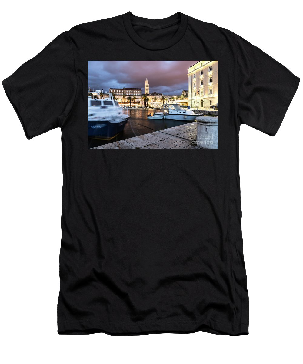 Balkans Men's T-Shirt (Athletic Fit) featuring the photograph Split Harbor Night View In Croatia by Didier Marti