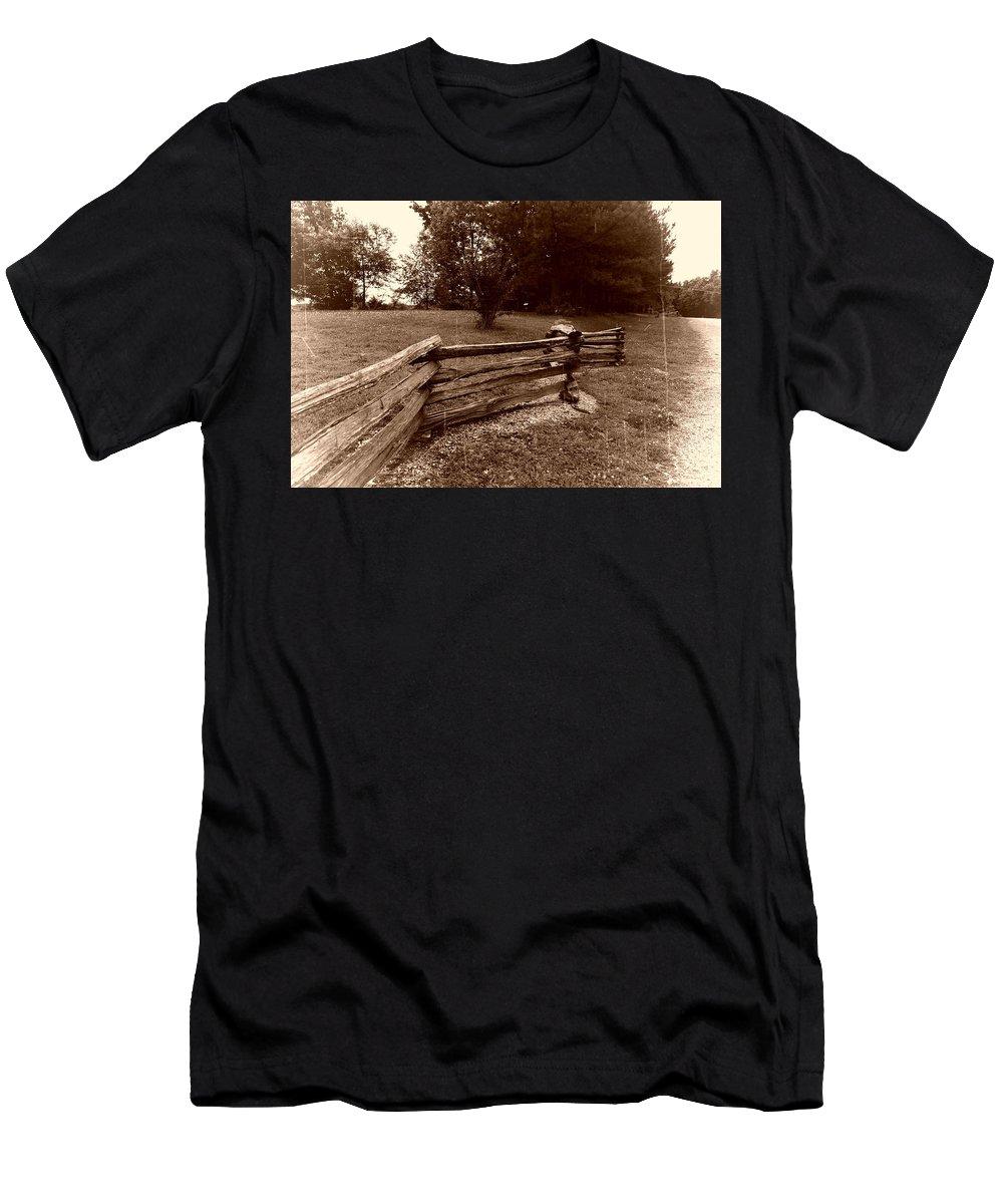 Landscape Men's T-Shirt (Athletic Fit) featuring the photograph Split Rail Fence by John Myers
