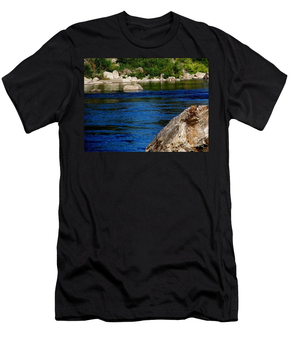 Patzer Men's T-Shirt (Athletic Fit) featuring the photograph Spokane River by Greg Patzer