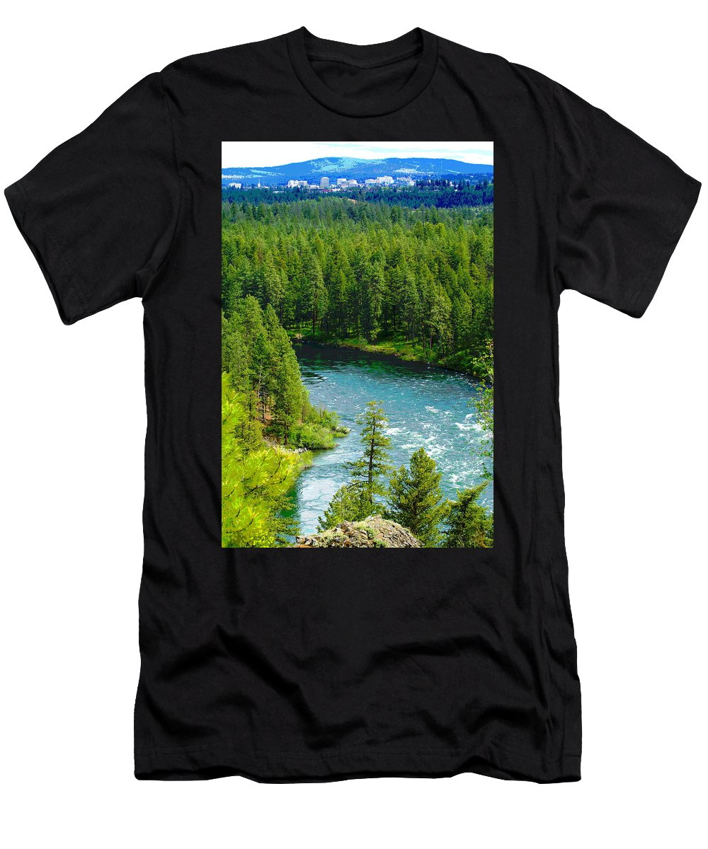 Spokane Men's T-Shirt (Athletic Fit) featuring the photograph Spokane...the River And The City by Ben Upham III