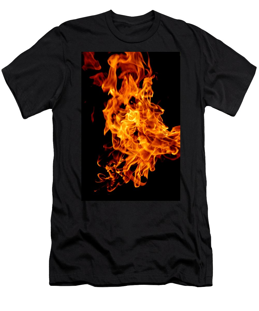 Usa Men's T-Shirt (Athletic Fit) featuring the photograph Spooky Hot Spirit Fire Michigan by LeeAnn McLaneGoetz McLaneGoetzStudioLLCcom