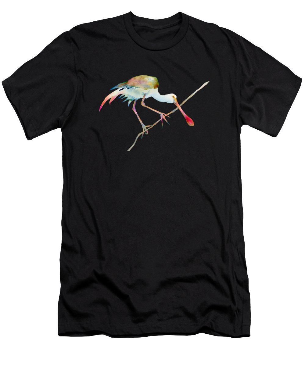 Watercolor Men's T-Shirt (Athletic Fit) featuring the painting Spoonbill by Amy Kirkpatrick