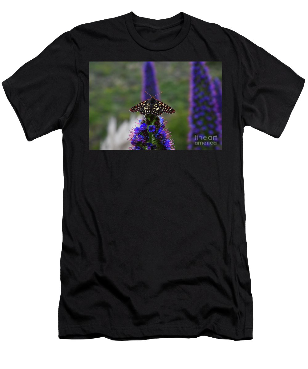 Moth Men's T-Shirt (Athletic Fit) featuring the photograph Spotted Moth On Purple Flowers by Bruce Chevillat
