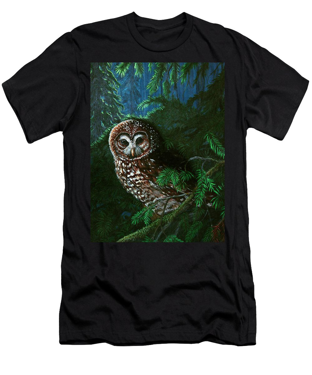 Owl Men's T-Shirt (Athletic Fit) featuring the painting Spotted Owl In Ancient Forest by Nick Gustafson