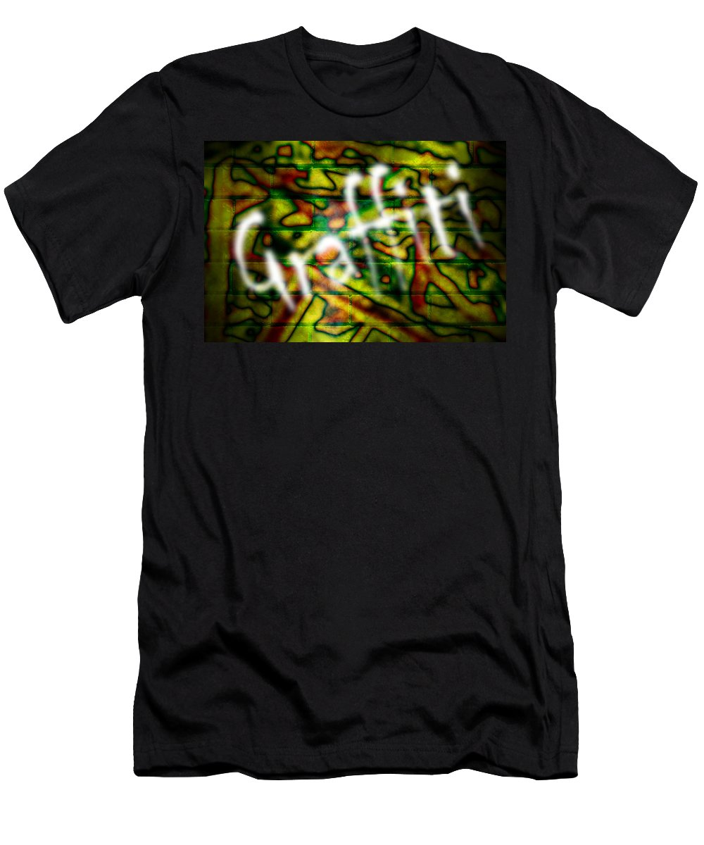 Graffiti Men's T-Shirt (Athletic Fit) featuring the photograph Spray Painted Graffiti by Phill Petrovic