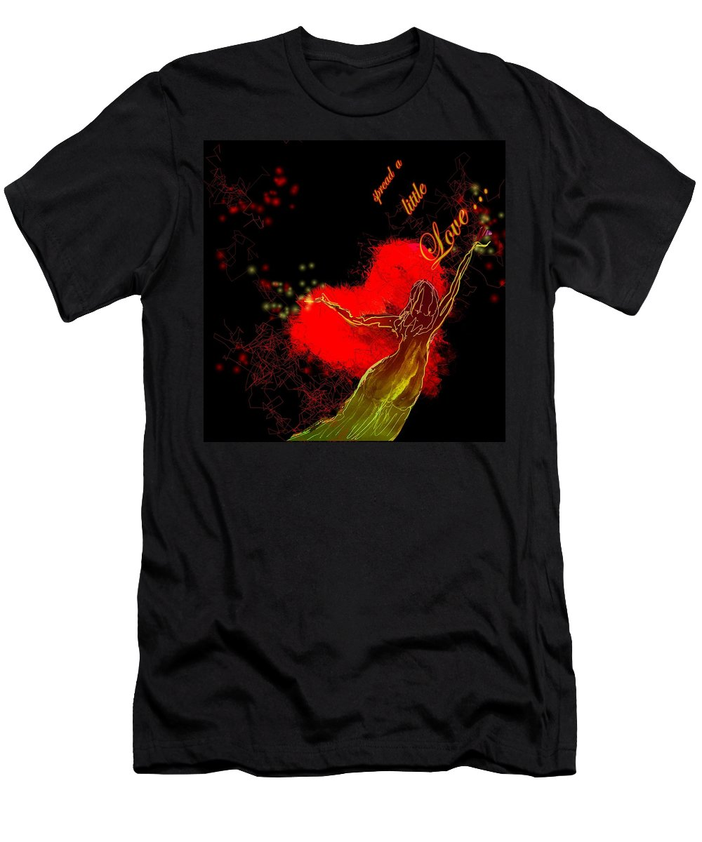 Love Men's T-Shirt (Athletic Fit) featuring the painting Spread A Little Love by Miki De Goodaboom