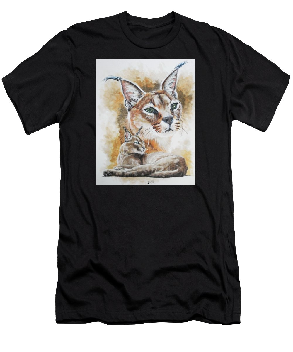 Caracal Men's T-Shirt (Athletic Fit) featuring the mixed media Sprightly by Barbara Keith