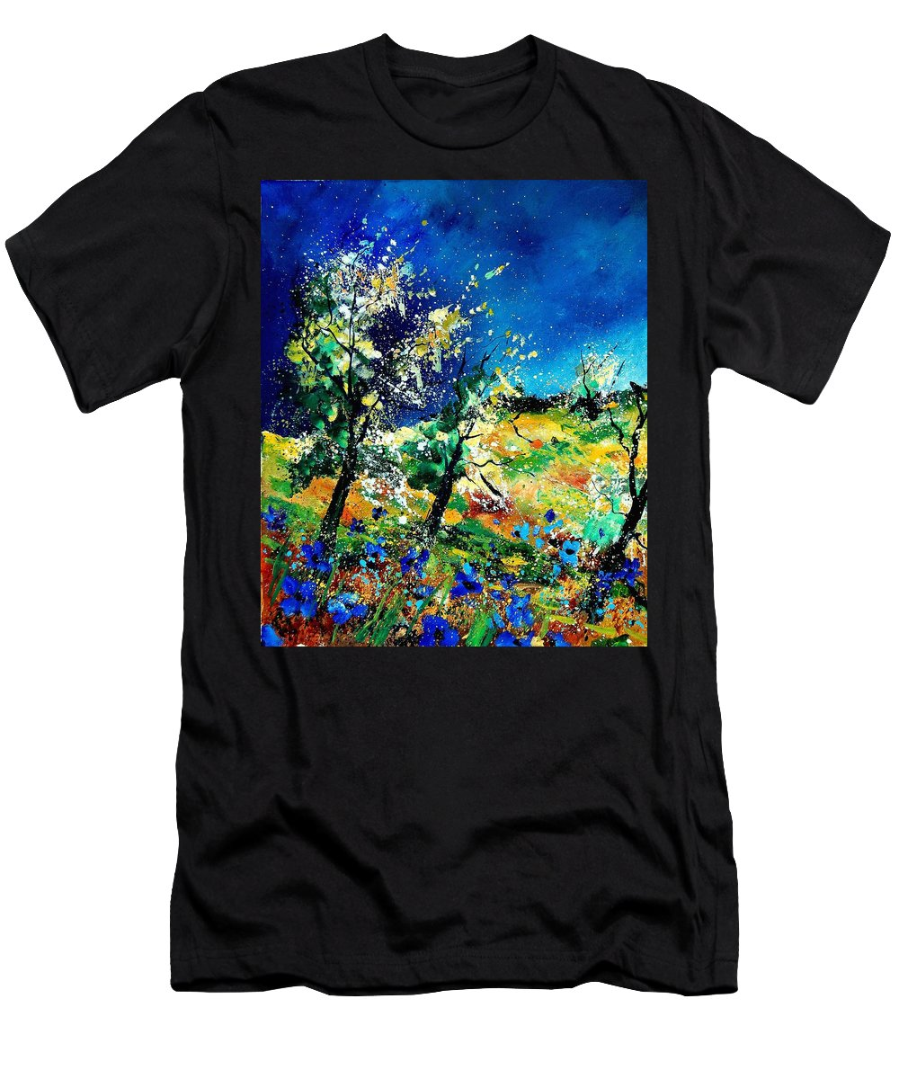 Tree Men's T-Shirt (Athletic Fit) featuring the painting Spring 56 by Pol Ledent