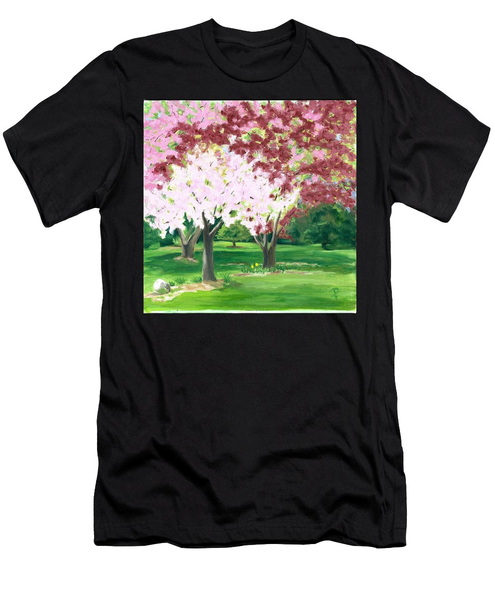 Spring Men's T-Shirt (Athletic Fit) featuring the painting Spring At Osage Land Trust by Paula Emery
